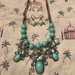 Mint Bauble and Sparkle Necklace with earrings